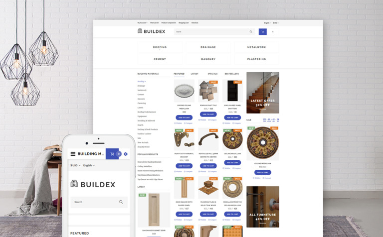 building materials OpenCart template