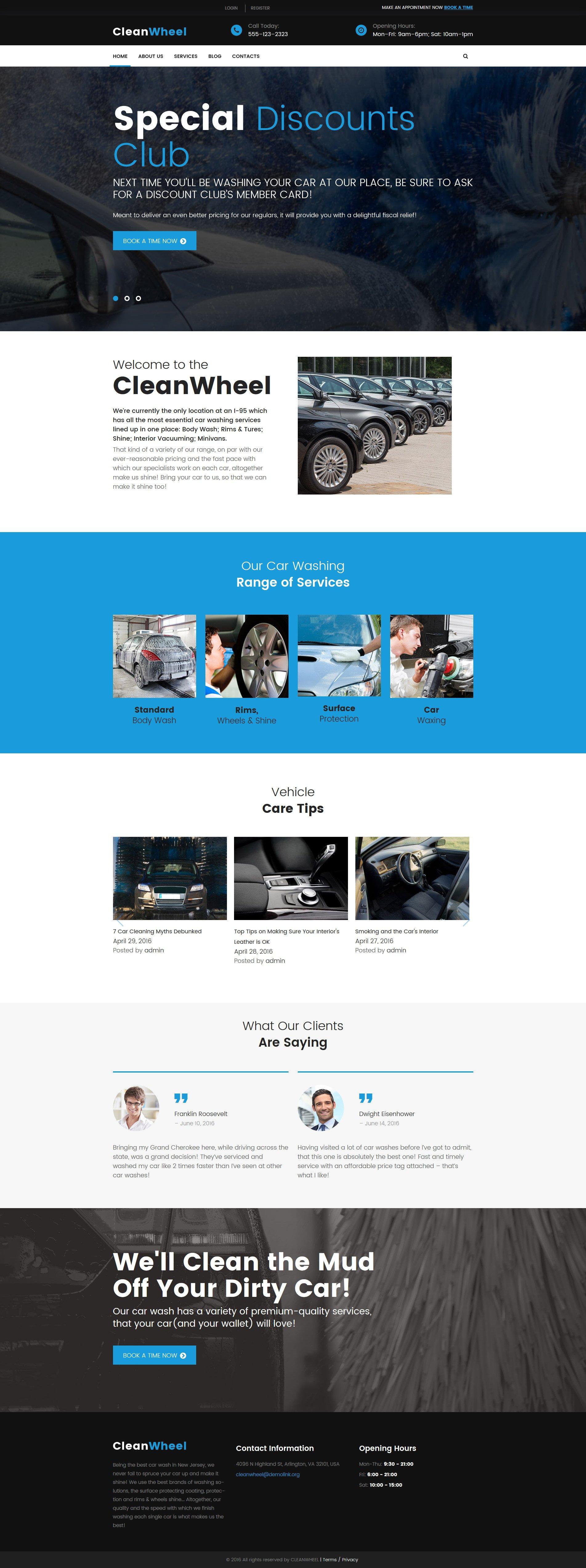 """CleanWheel Car Wash"" 响应式WordPress模板 #60045"