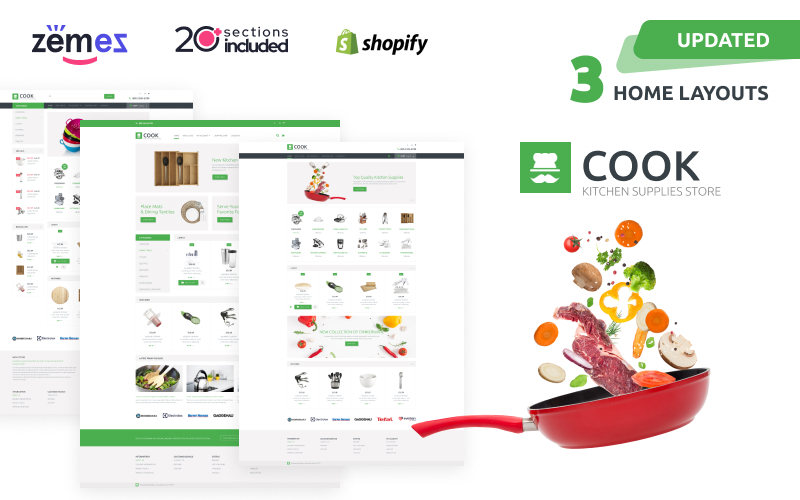 """Cook"" Responsive Shopify Thema №60059"
