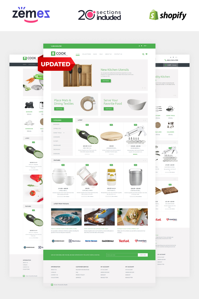 """""""Cook"""" Responsive Shopify Thema №60059"""
