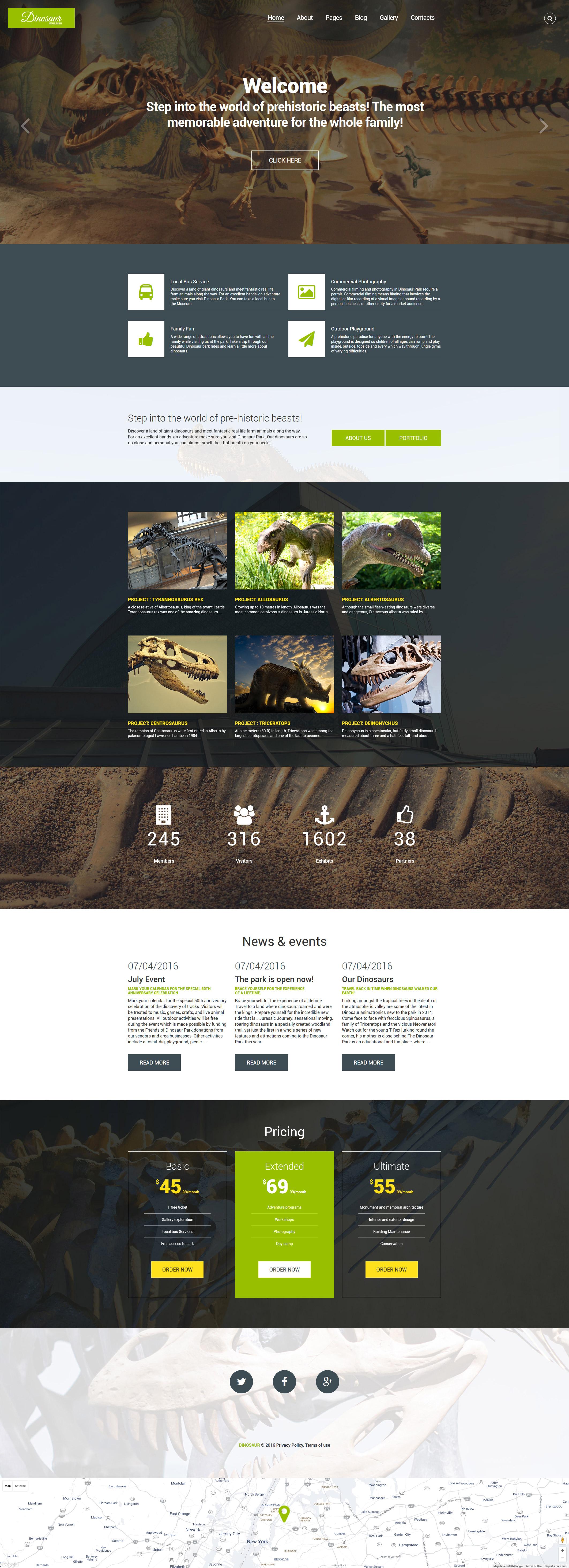 """Dinosaur Museum"" Responsive Joomla Template №60092"