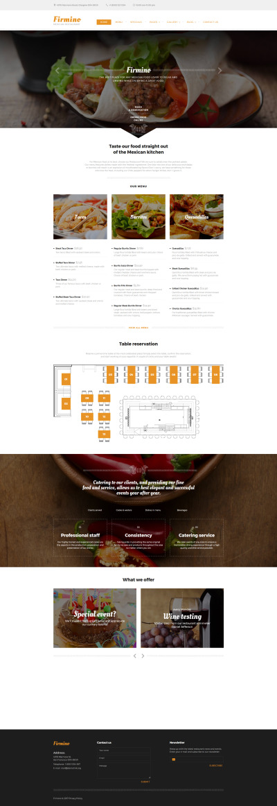 Firmino - Mexican Restaurant Multipage Responsive Website Theme #60037