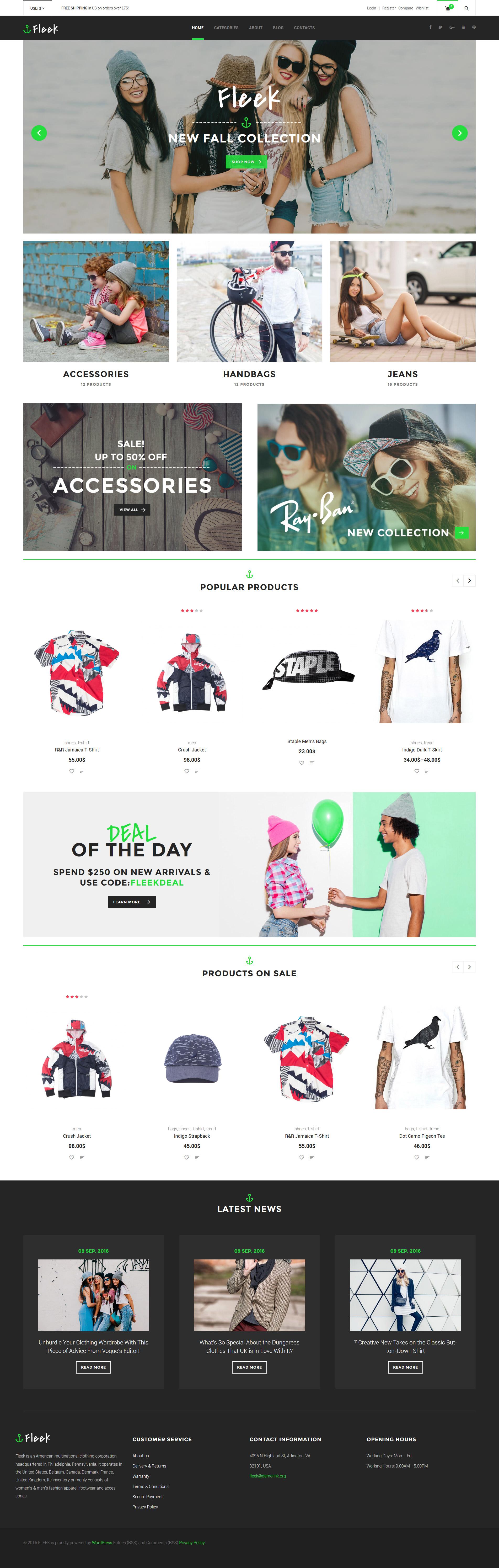 """Fleek - Urban Fashion Store"" thème WooCommerce adaptatif #60095 - screenshot"