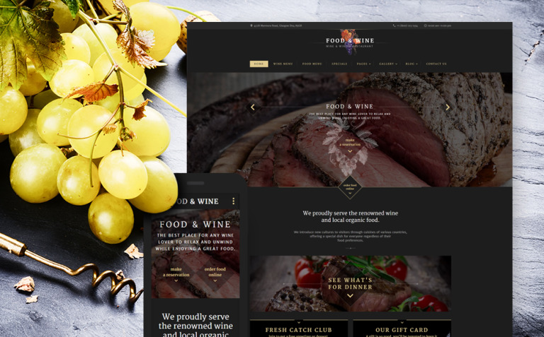 Food Wine Website Template New Screenshots BIG