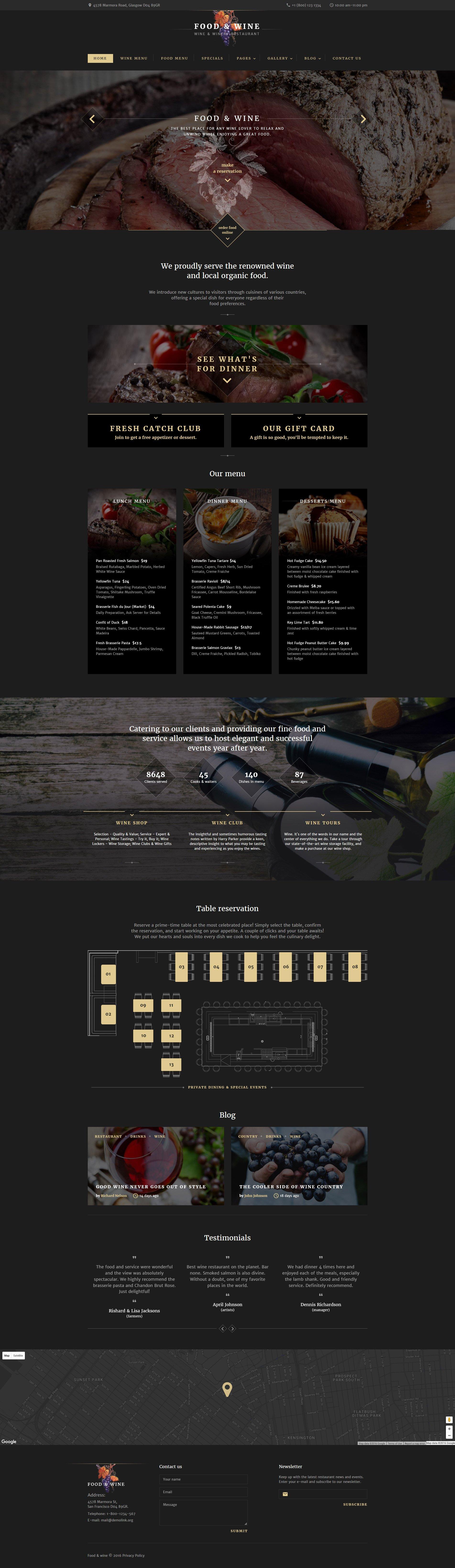 """Food  Wine"" 响应式网页模板 #60038 - 截图"
