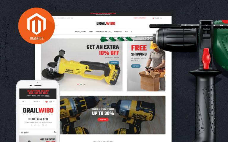 GrailWibo - Electrical Tools Store Magento 2 Theme New Screenshots BIG