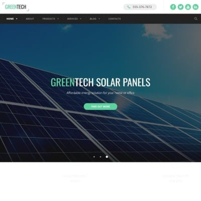 Solar Panel Website Templates - Template Monster