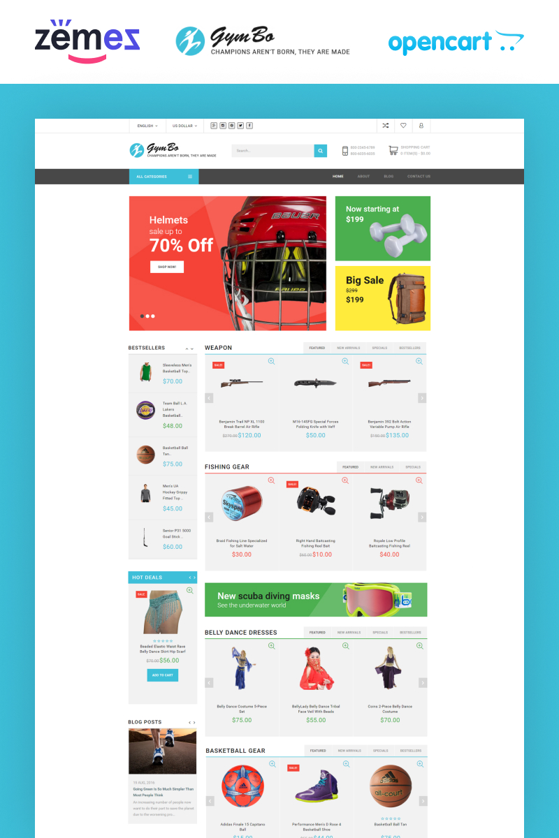 """""""GymBo"""" Responsive OpenCart Template №60024"""