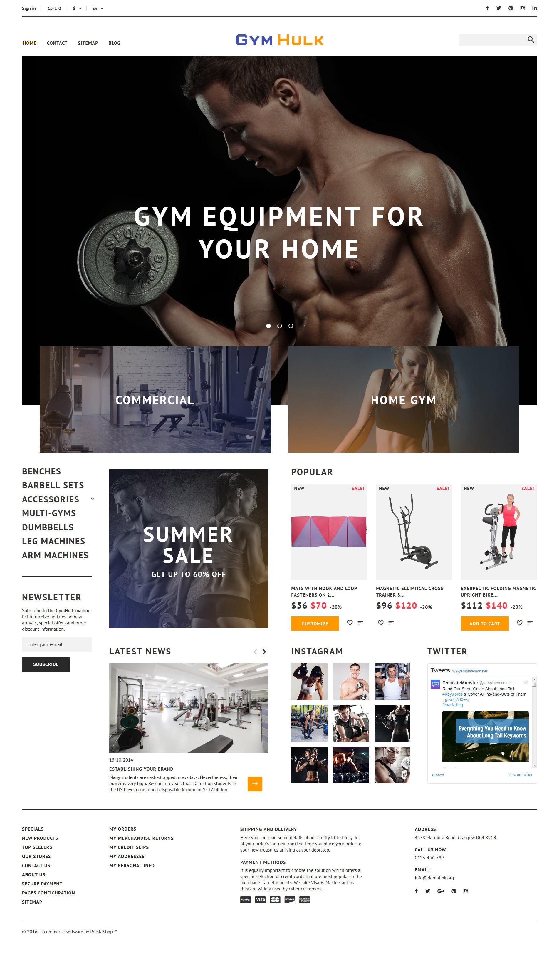 GymHulk - Gym Equipment PrestaShop Theme - screenshot