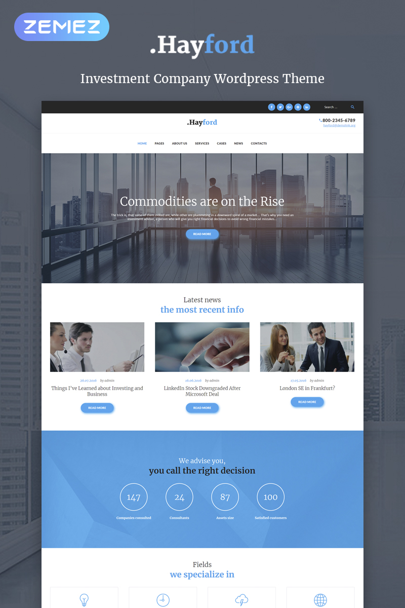 """Hayford - Investment Consulting Services Responsive"" thème WordPress adaptatif #60053"