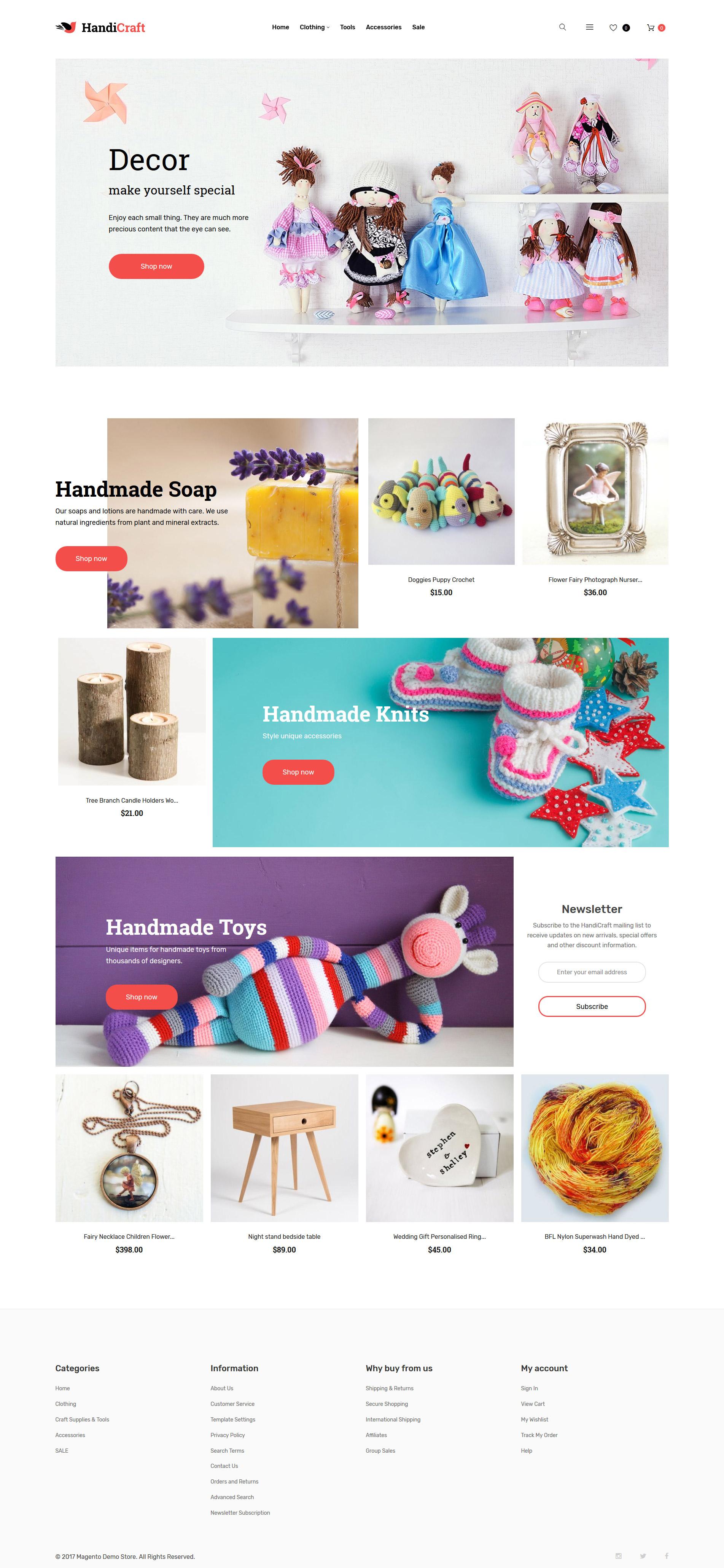 """Magento Theme namens """"HandiCraft - Handmade Goods Shop Responsive"""" #60070"""