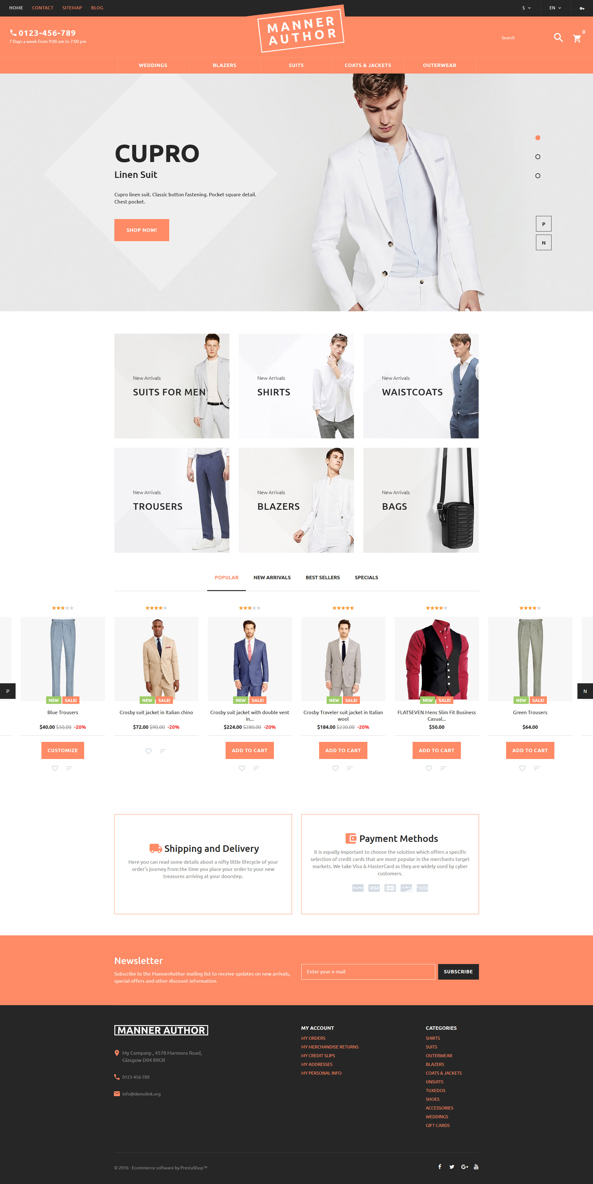 MannerAuthor - Men Clothes PrestaShop Theme