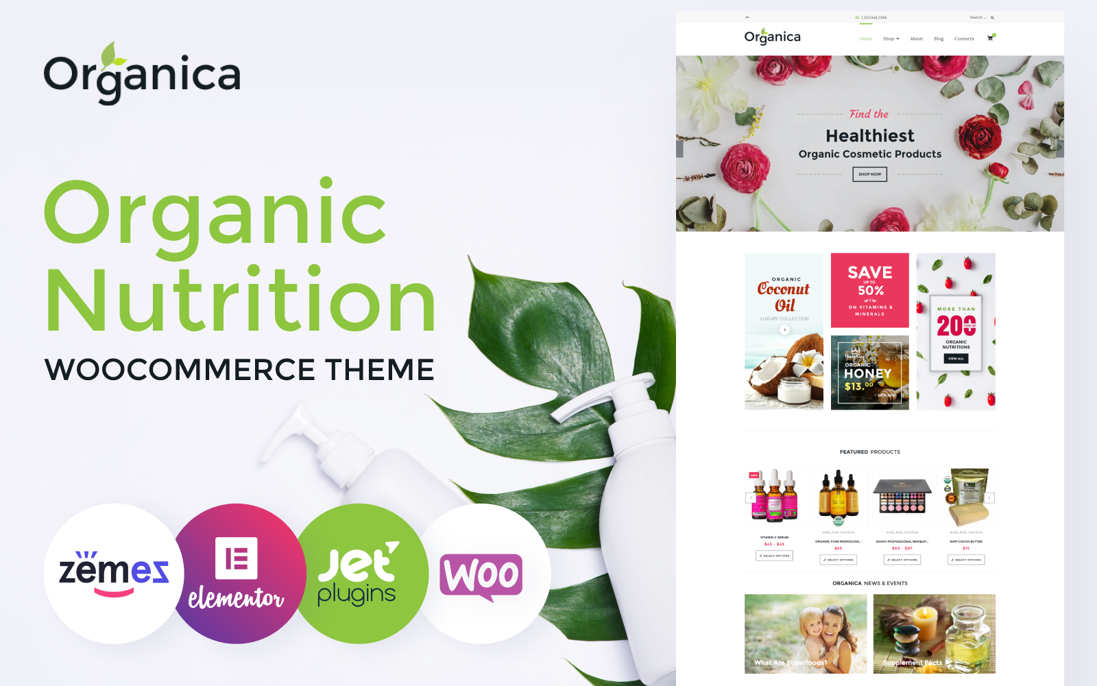 """Organica - Organic Food, Cosmetics and Bio Active Nutrition"" Responsive WooCommerce Thema №60093"
