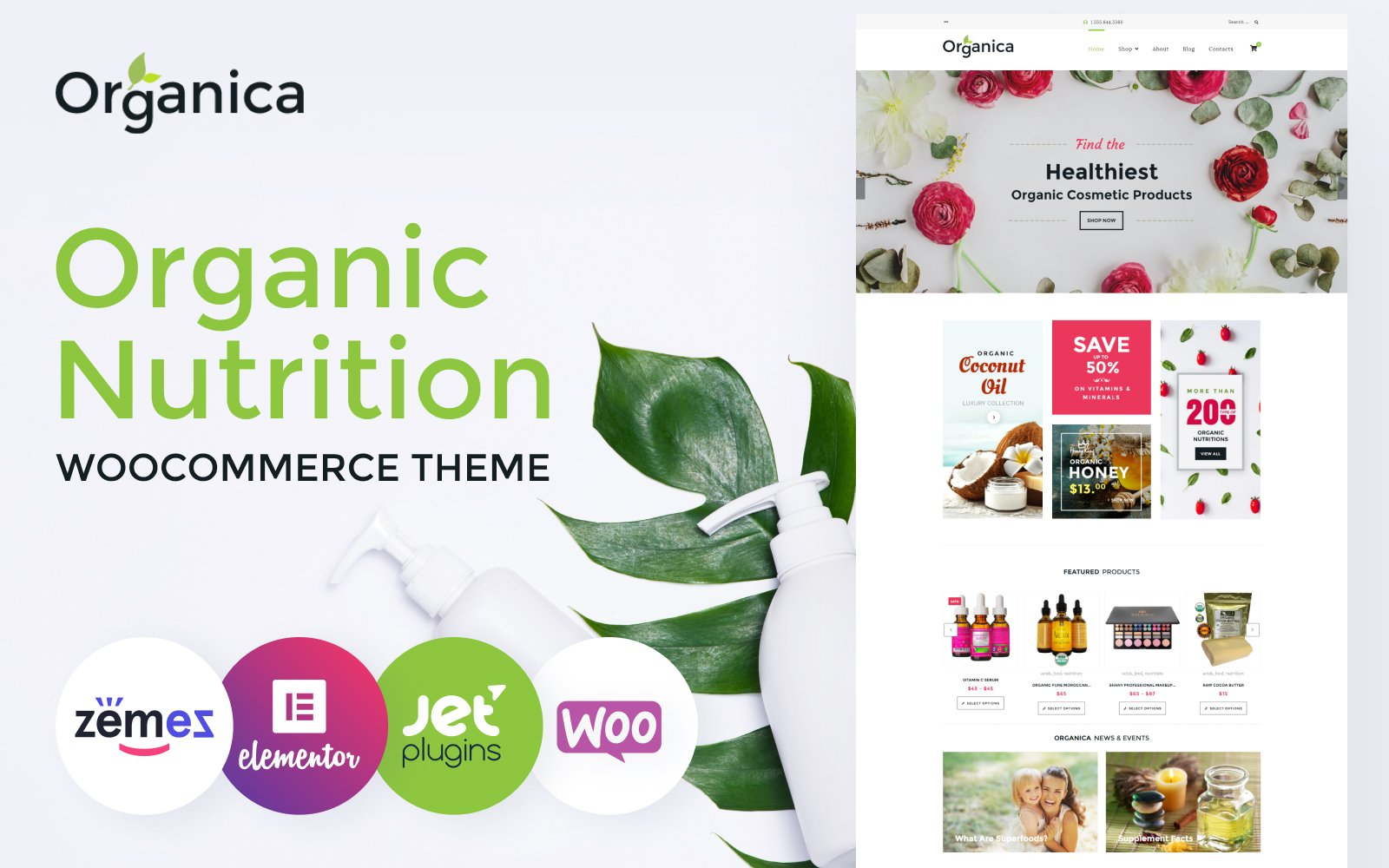 """Organica - Organic Food, Cosmetics and Bio Active Nutrition"" 响应式WooCommerce模板 #60093"