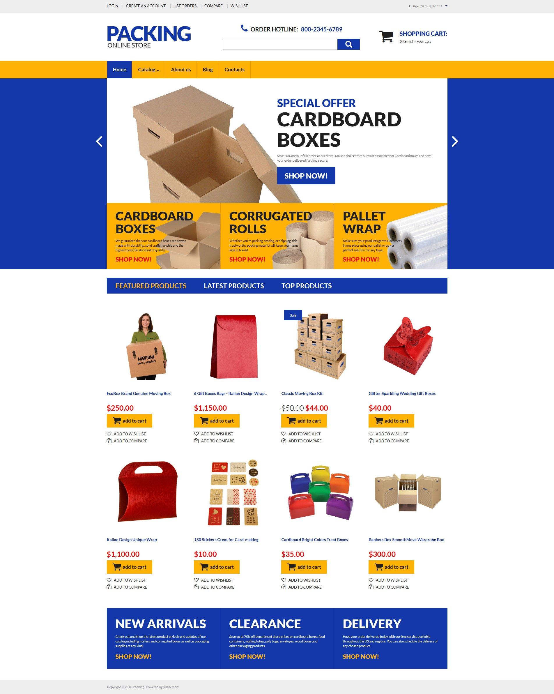"Plantilla VirtueMart ""Packing"" #60041"