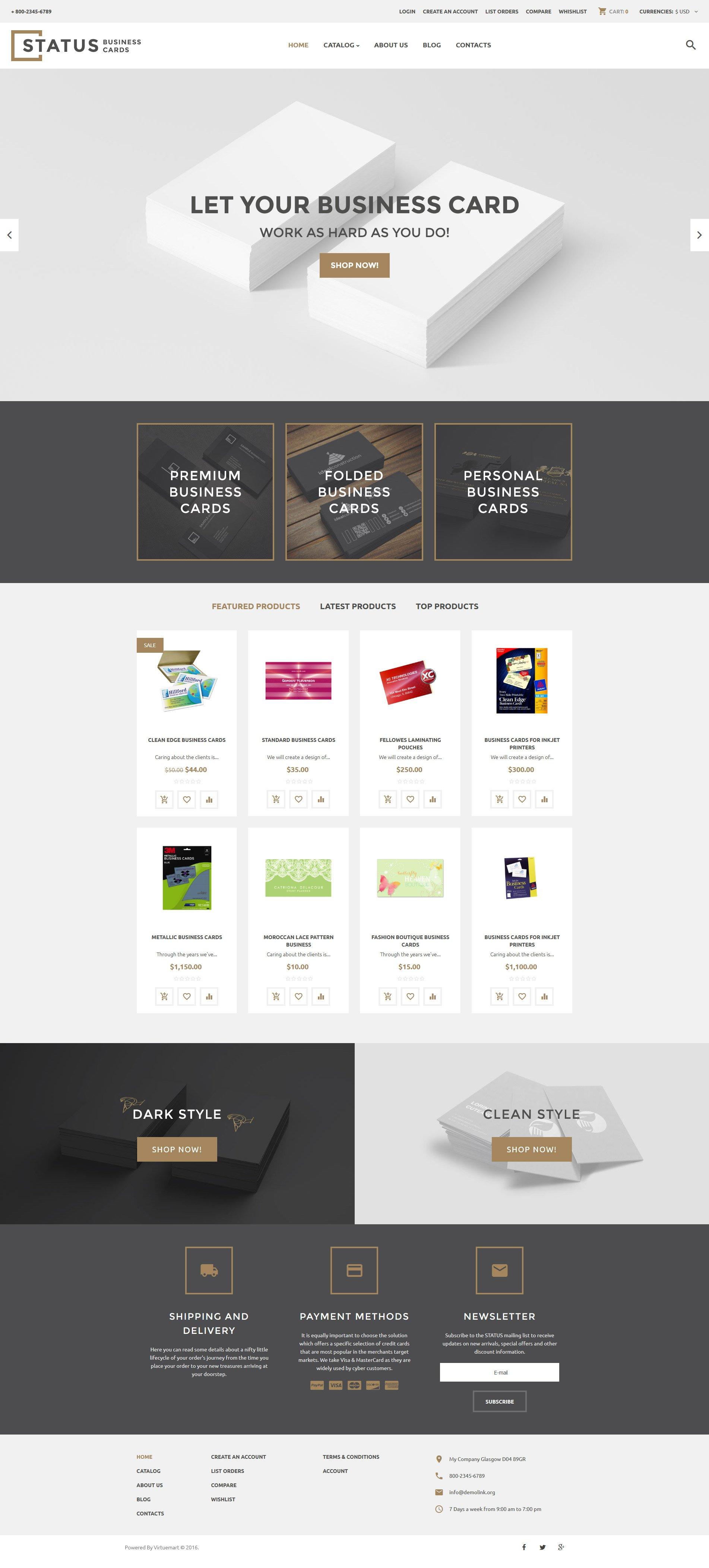 "Plantilla VirtueMart ""Status Business Cards"" #60001"