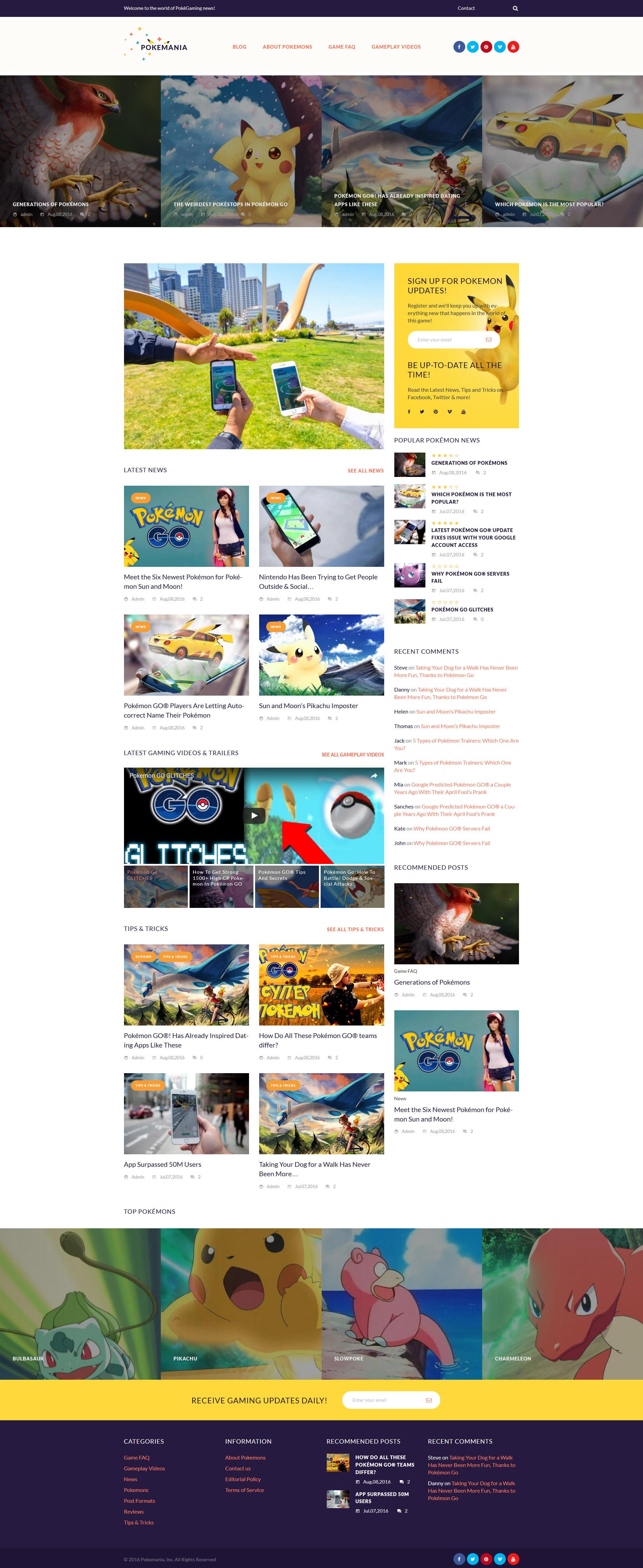 """Pokemania - Game Portal Pokemon"" 响应式WordPress模板 #60087"