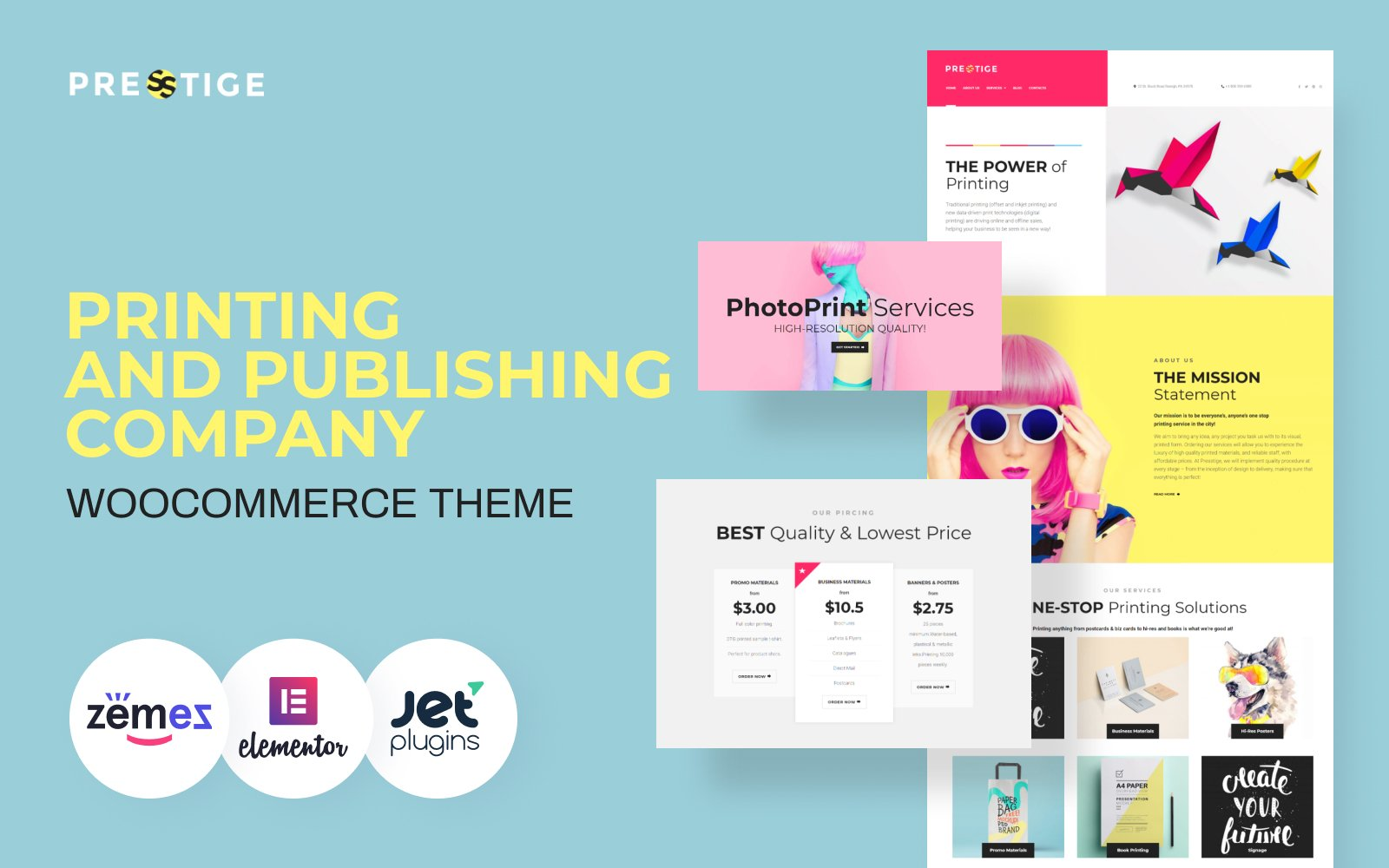 """Presstige - Digital Printing Company Responsive WordPress Theme"" Responsive WordPress thema №60084"