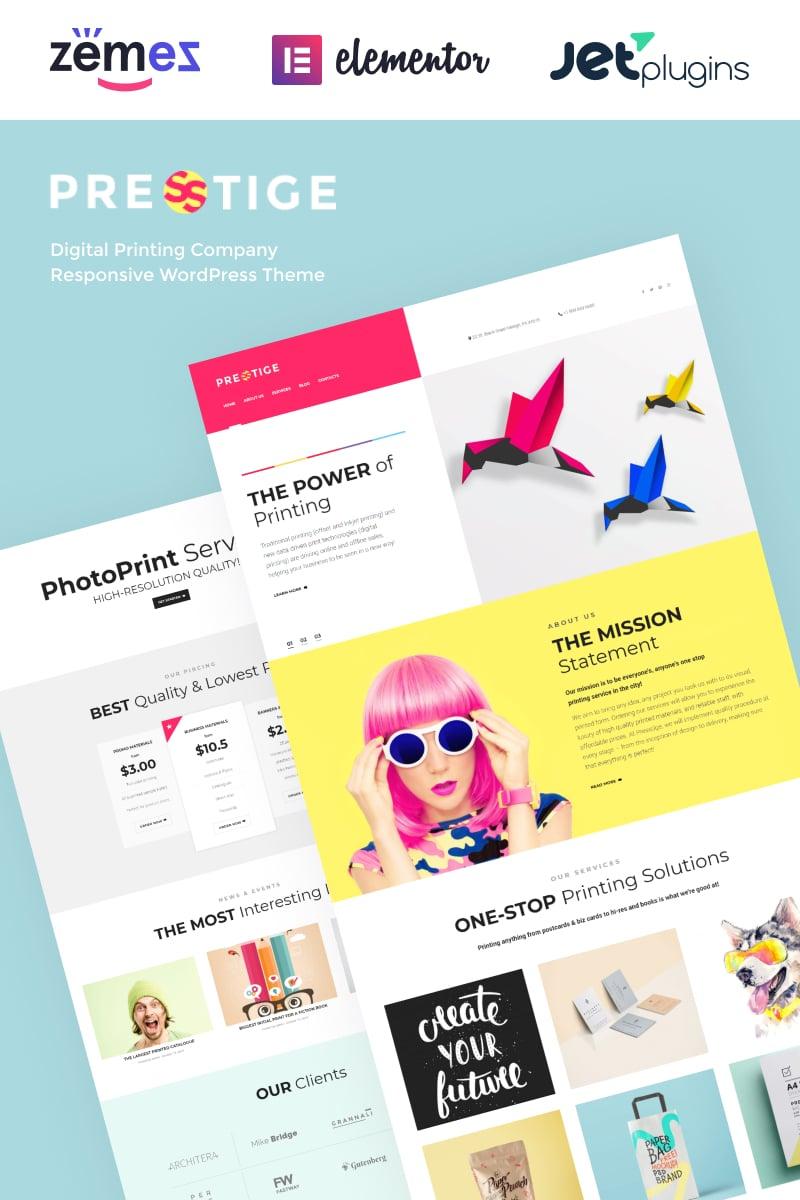 """Presstige - Digital Printing Company Responsive"" 响应式WordPress模板 #60084"