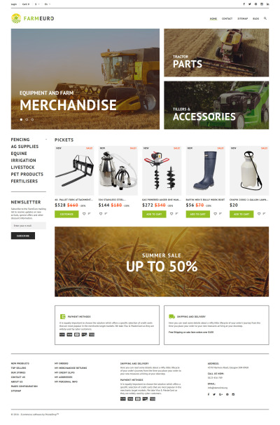 "PrestaShop шаблон ""FarmEuro - адаптивный PrestaShop шаблон на тему сельское хозяйство"" #60066"