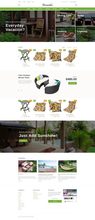 """PrestaShop шаблон """"Furnitta - магазин наружной мебели"""" #60032"""
