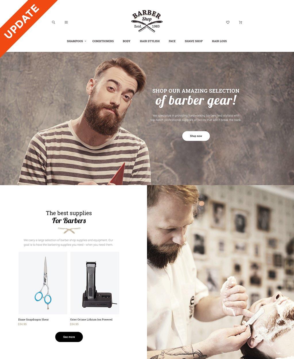 Responsive BarberShop - Barber Equipment Responsive Magento #60068
