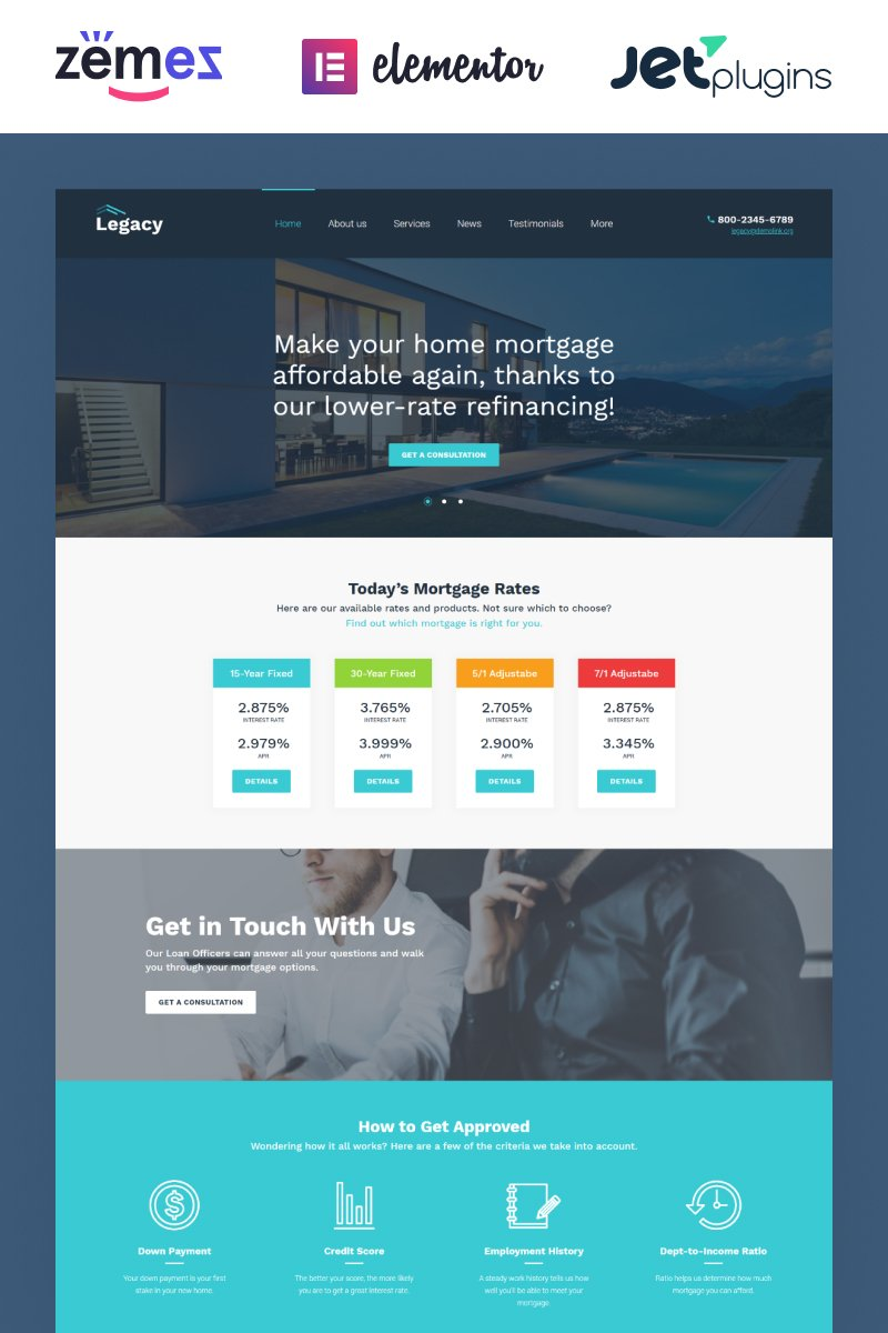 Responsivt Legacy - Estate and Mortgage WordPress-tema #60048