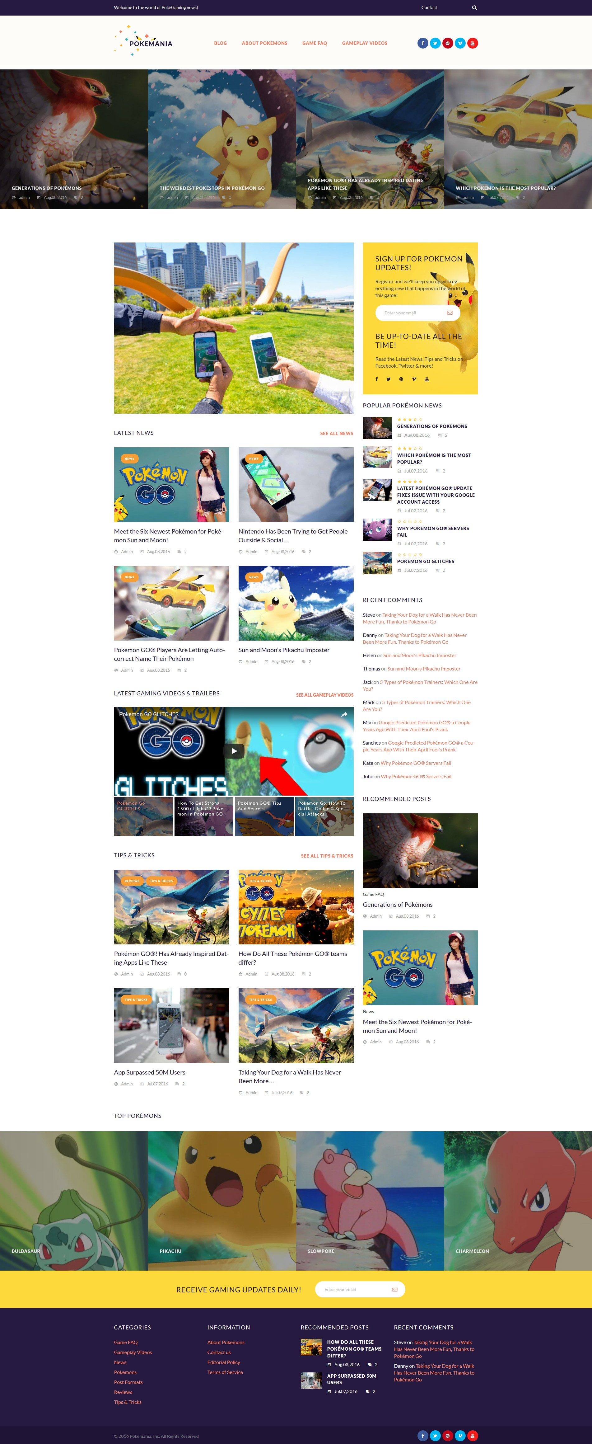 Responsivt Pokemania - Game Portal Pokemon WordPress-tema #60087