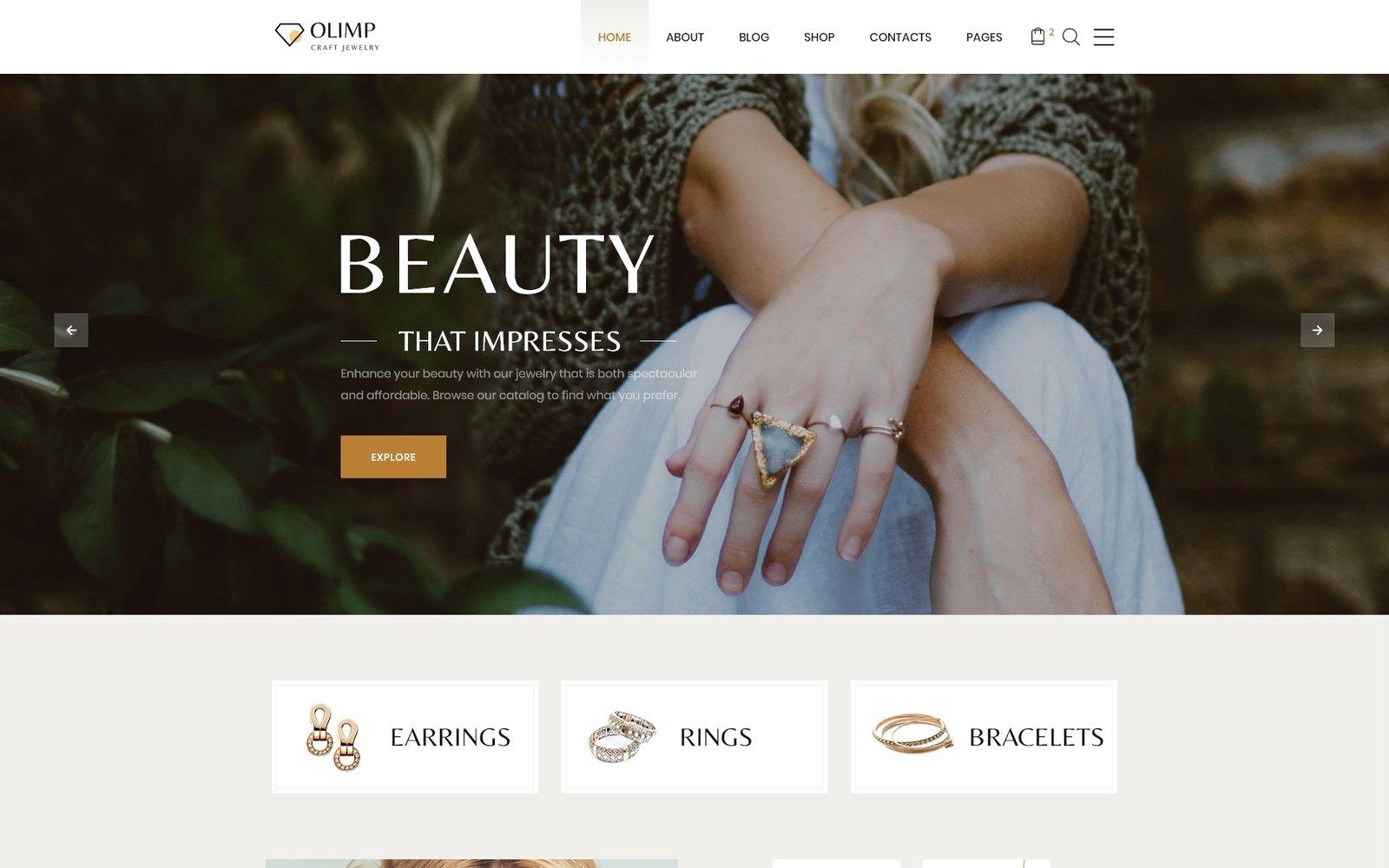 Responsywny szablon strony www Olimp - Luxury Jewelry Online Store Multipage HTML #60076