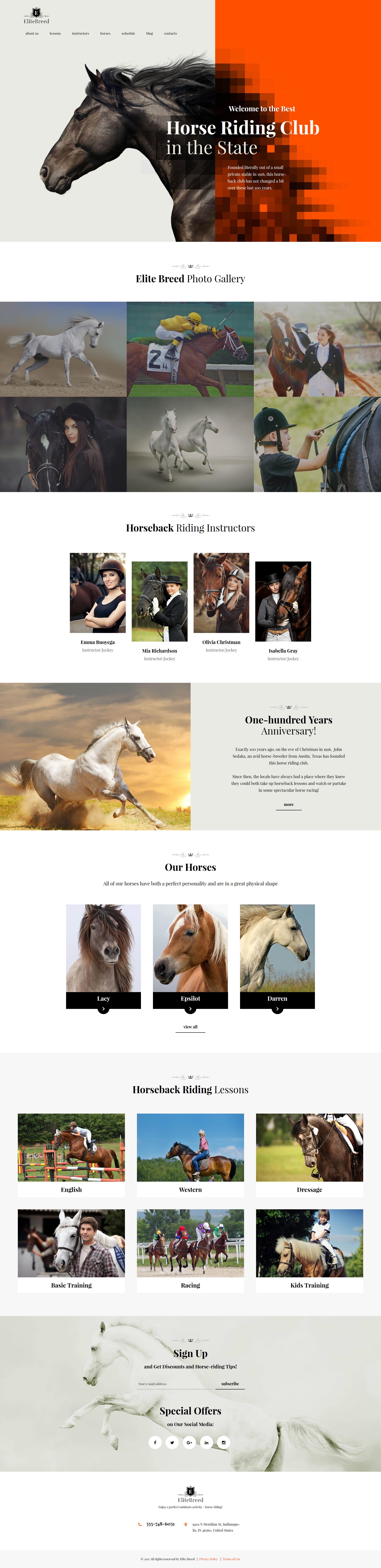 "Responzivní WordPress motiv ""Elite Breed - Equestrian & Horse Riding Club"" #60085"