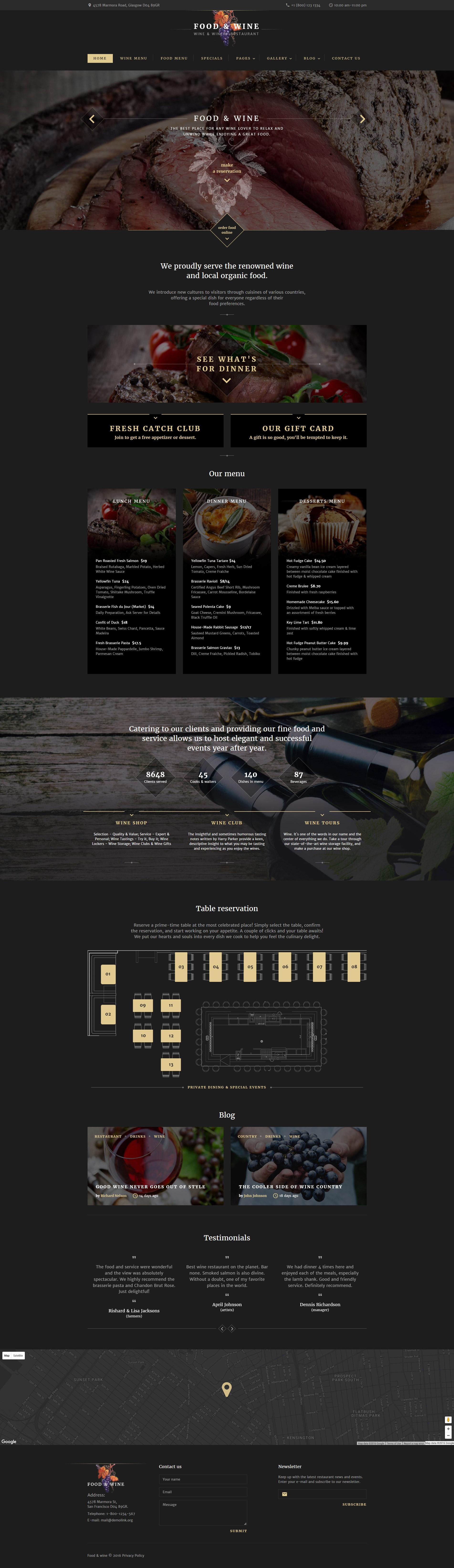 Reszponzív Food  Wine Weboldal sablon 60038 - képernyőkép