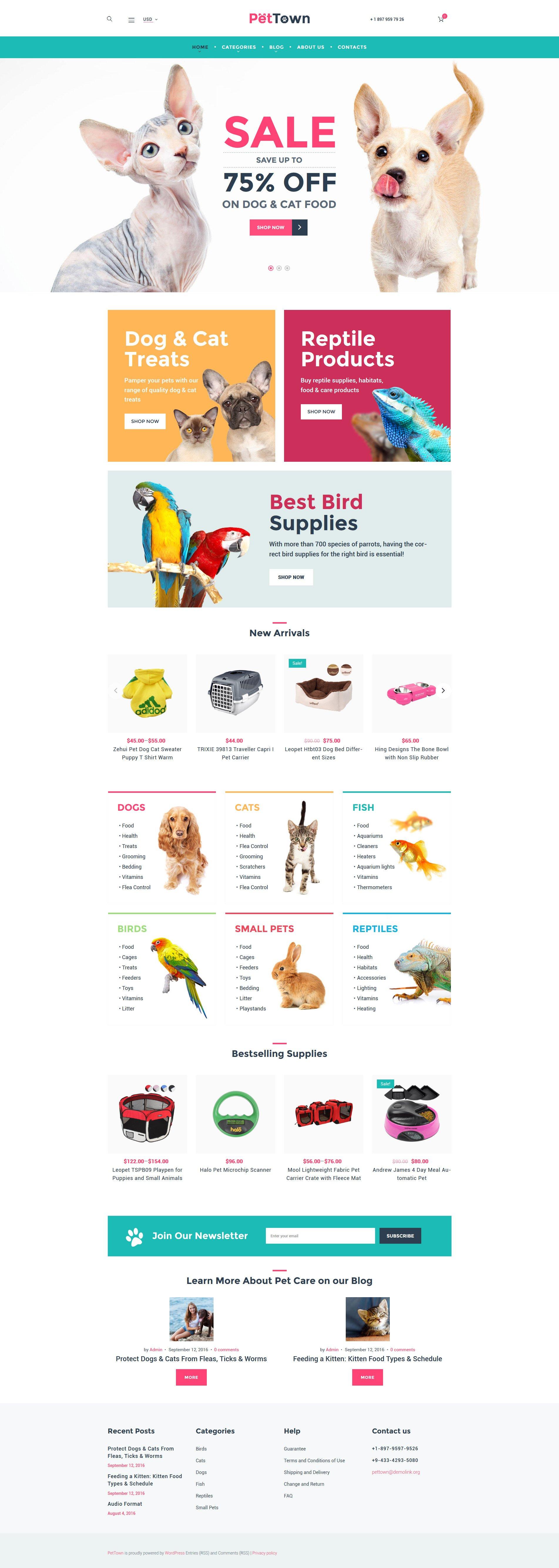 Reszponzív PetTown Pet Store WooCommerce sablon 60094