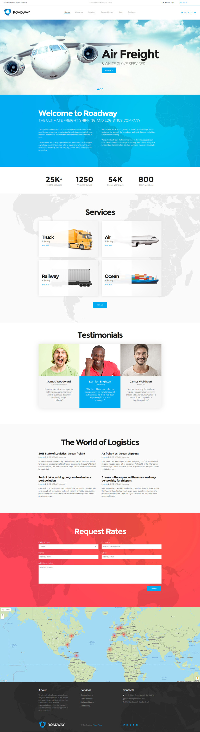 Roadway - Logistics & Transportation Services WordPress Theme New Screenshots BIG