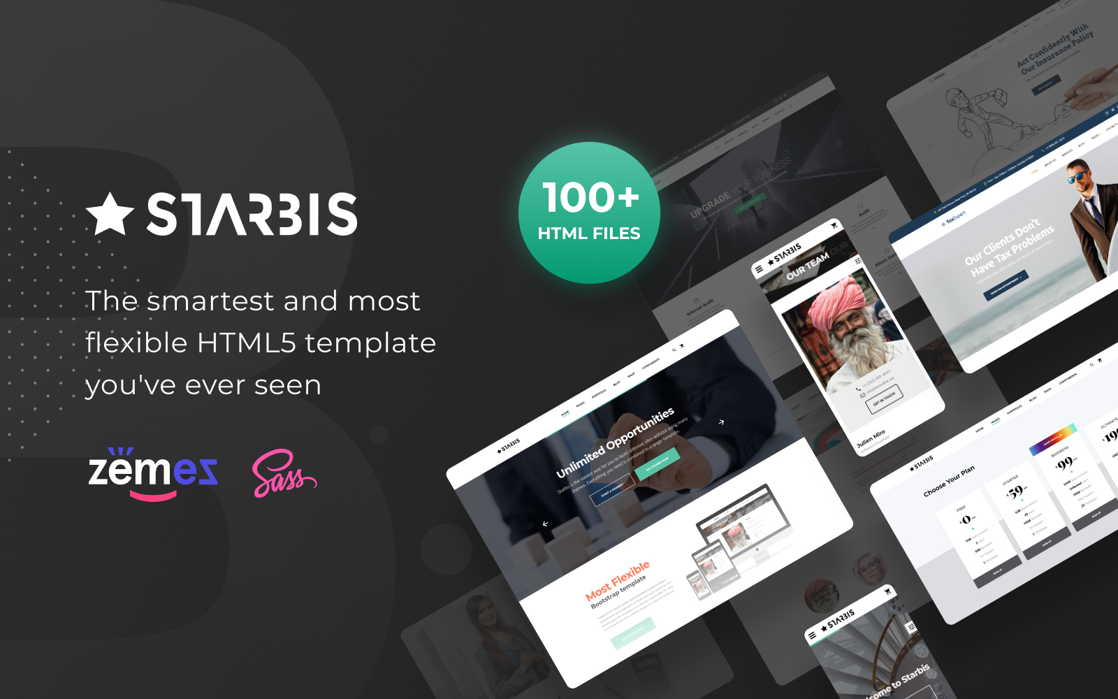 """Starbis - Business Multipurpose Bootstrap 4"" Responsive Website template №60047"