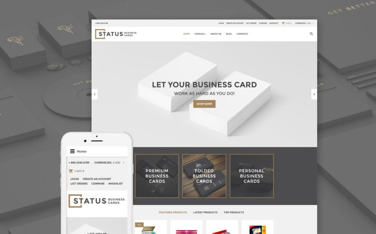 Status Business Cards VirtueMart Template New Screenshots BIG