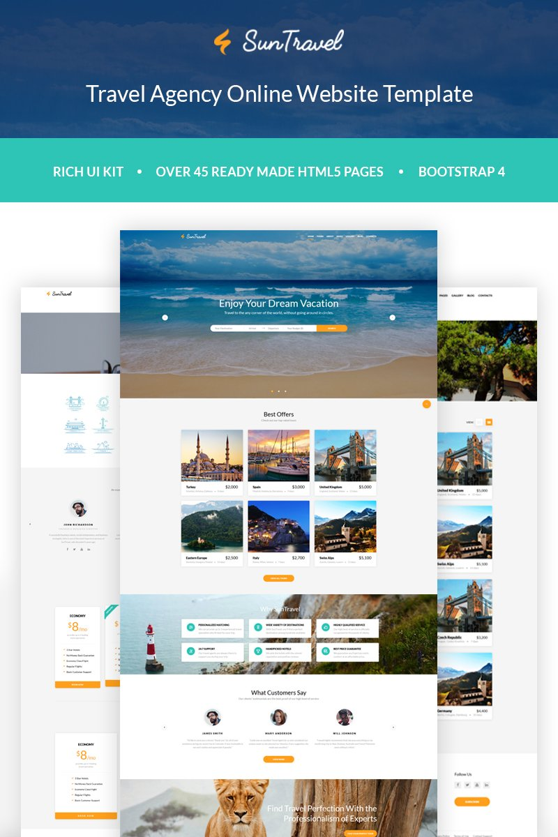 Sun Travel - Travel Agency Online Template Web №60075