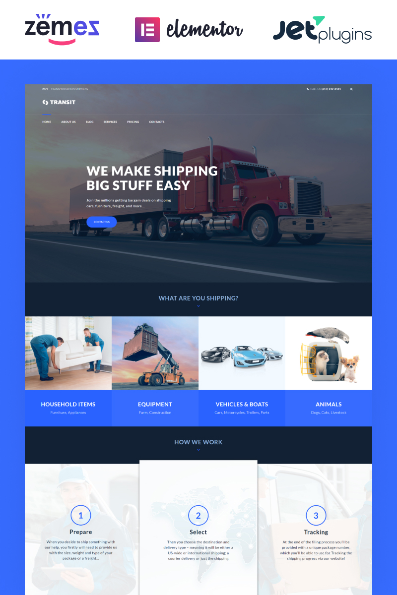 Transit - Logistics and Transportation Service Tema WordPress №60055
