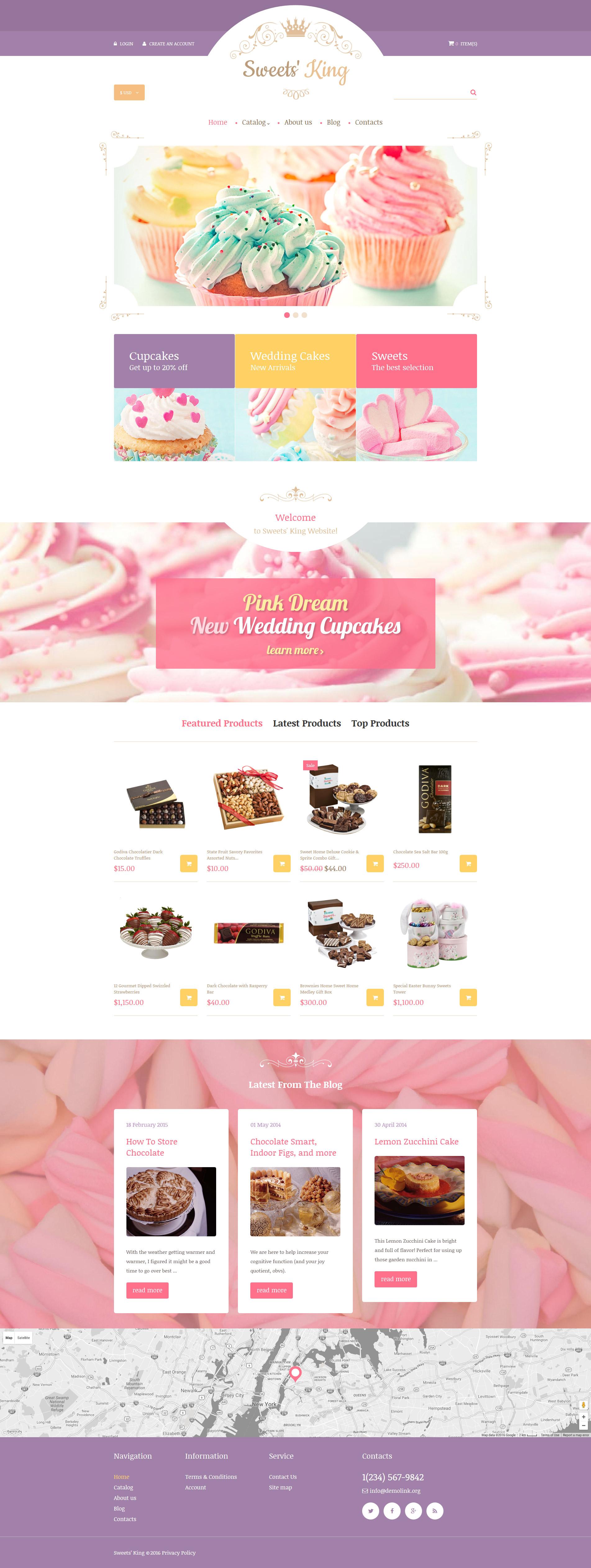 VirtueMart шаблон на тему магазин солодощів №60042
