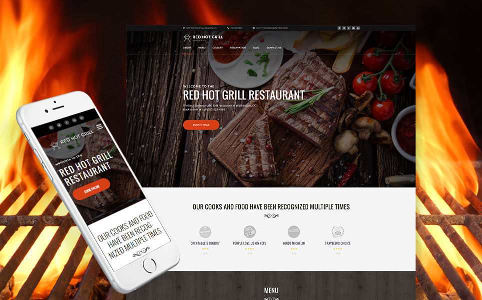 Red Hot Grill Restaurant Wordpress Theme Wordpress Theme
