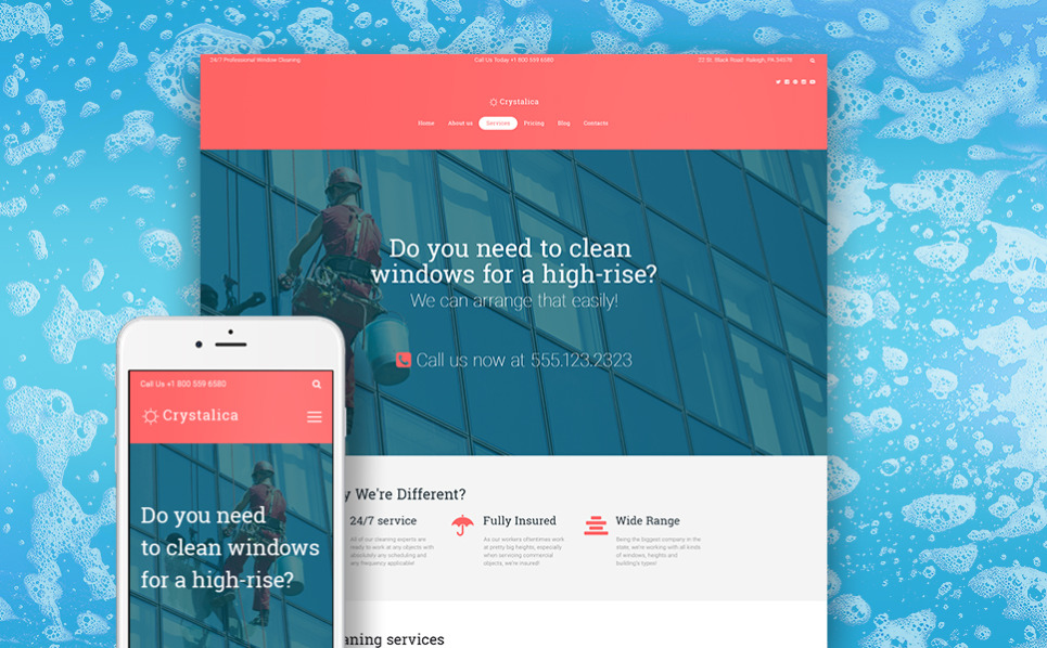 Responsive WordPress thema over Glasbewassing  New Screenshots BIG