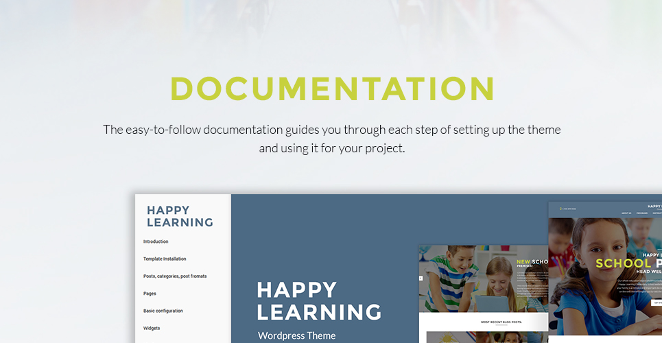 Primary school wordpress theme happy learning is a responsive primary school wordpress theme created using power page builder a robust drag and drop tool used for constructing pages and pronofoot35fo Image collections