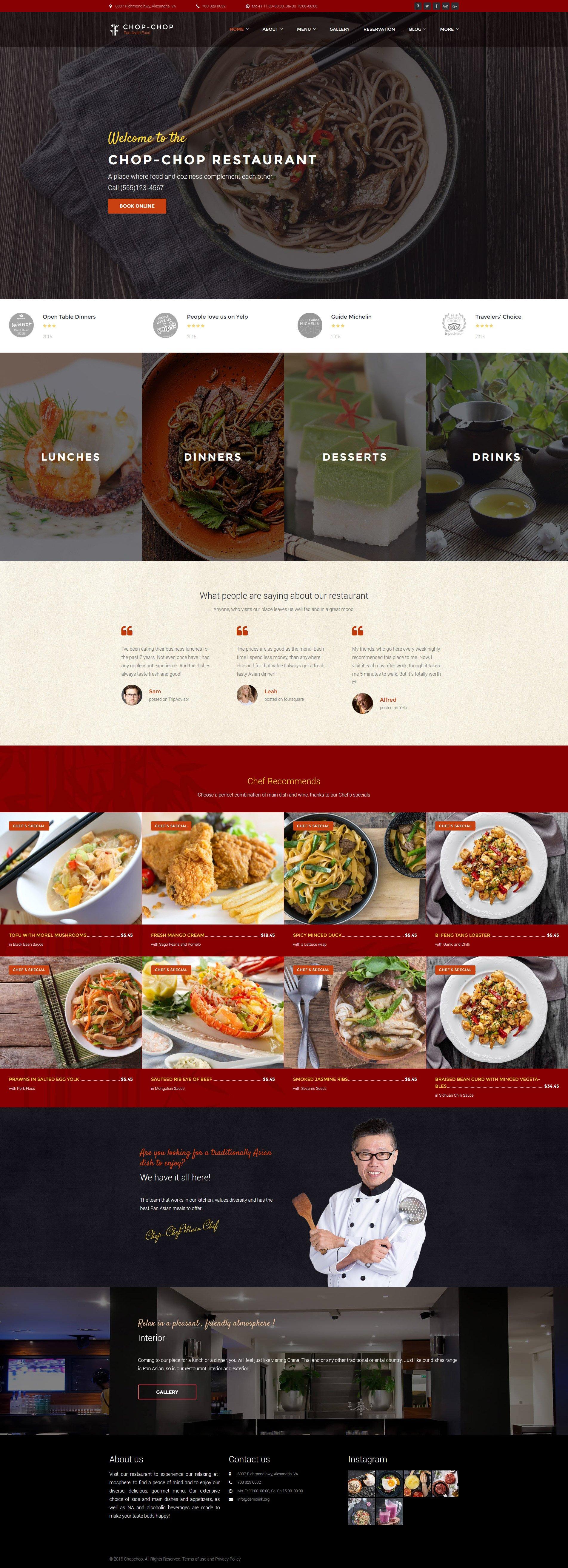 Адаптивный шаблон сайта на тему азиатский ресторан #60108