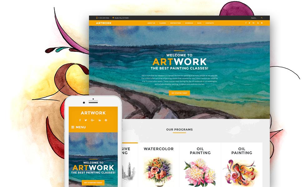 Адаптивный шаблон сайта на тему школа искусств #60115