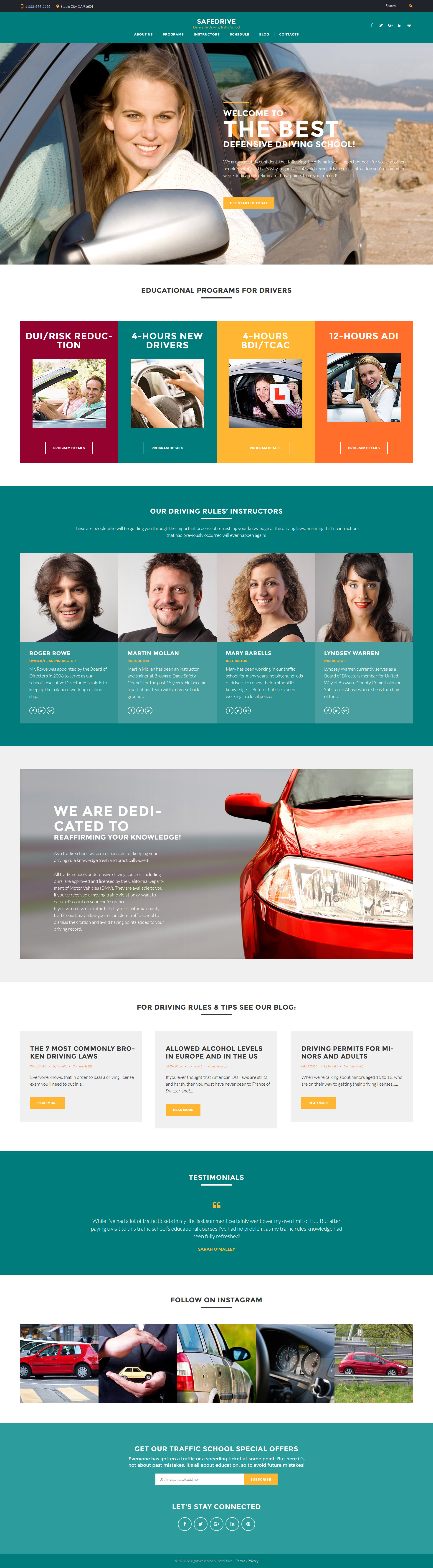 Адаптивный шаблон сайта на тему школа вождения #60127