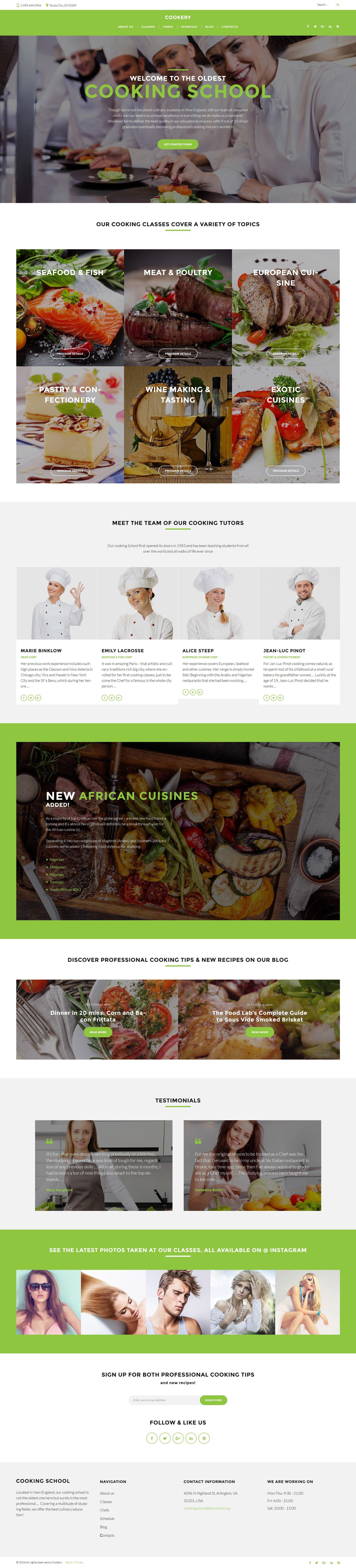 Адаптивный шаблон сайта на тему кулинарная школа #60130