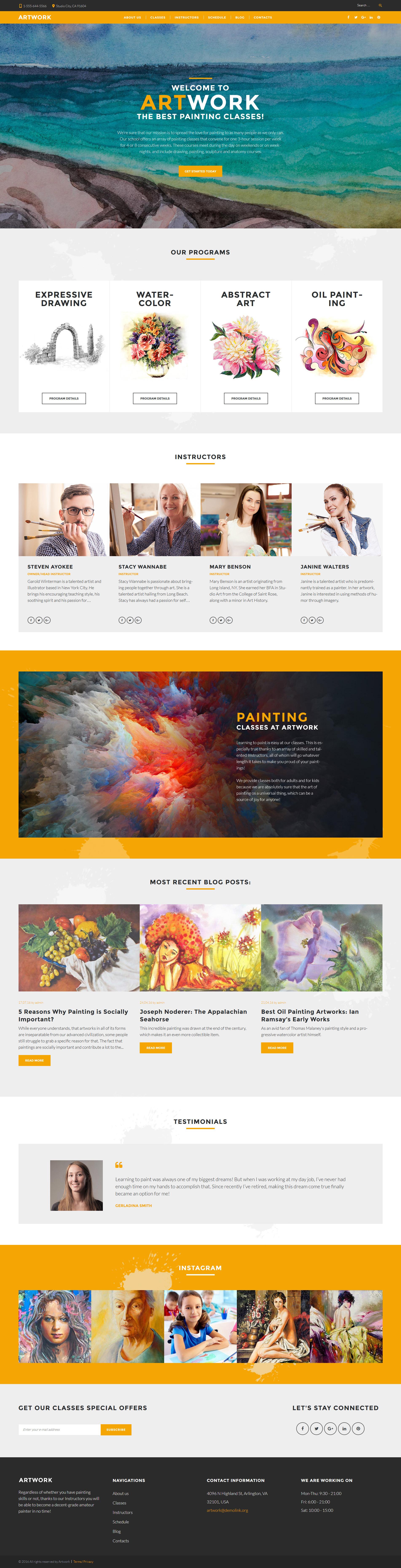 Art School Responsive WordPress Theme - screenshot