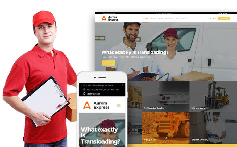 AuroraExpress - Transportation Company Responsive WordPress Theme New Screenshots BIG