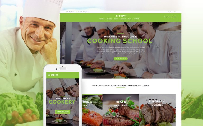 Cooking - Culinary School Responsive WordPress Theme New Screenshots BIG