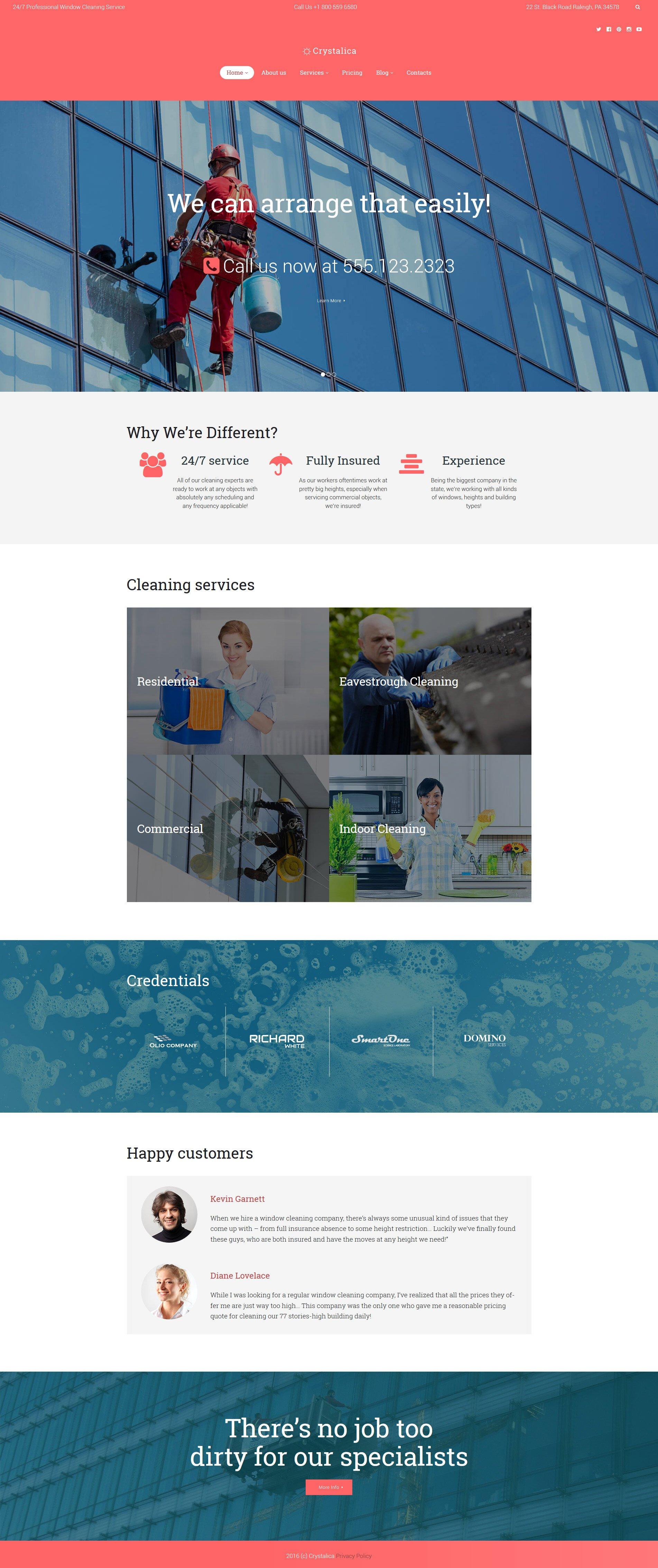 """Crystalica - Window Cleaning"" - адаптивний WordPress шаблон №60120"