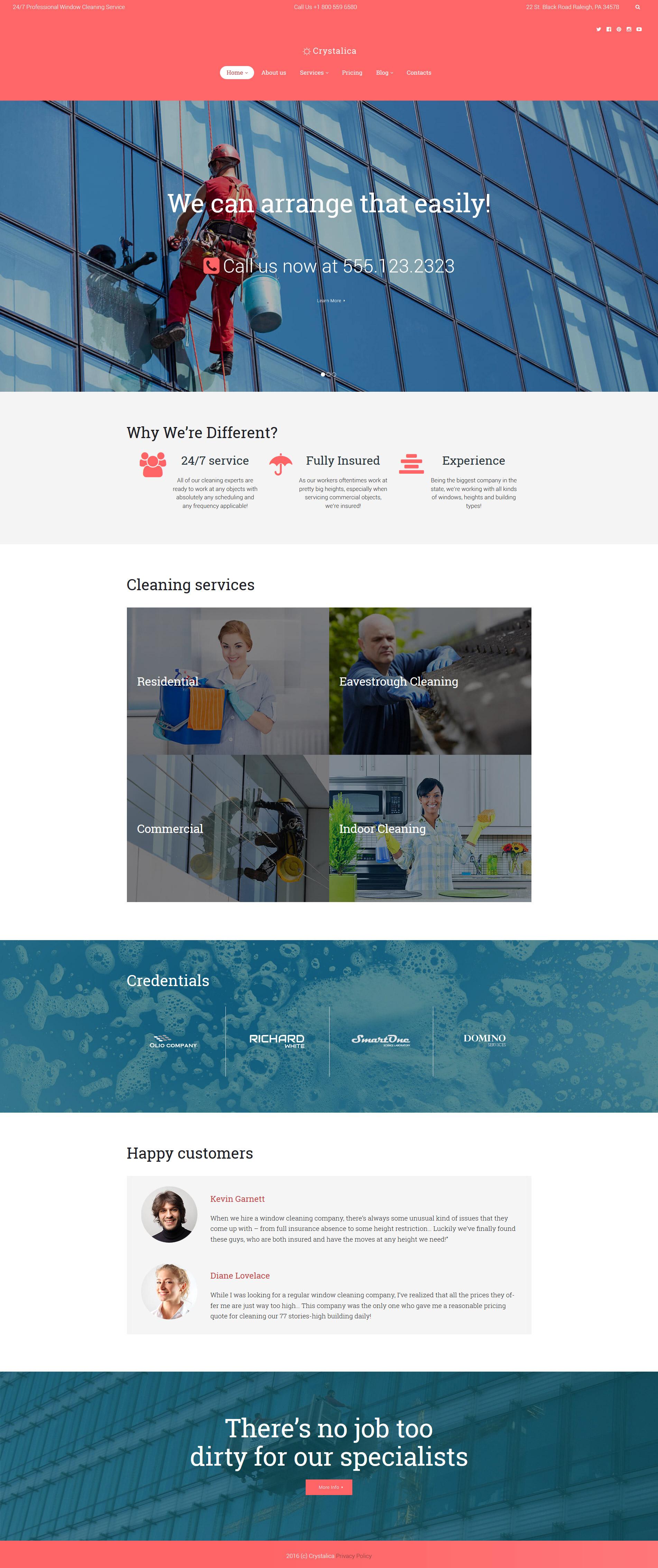 """Crystalica - Window Cleaning"" 响应式WordPress模板 #60120"